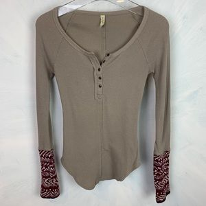 Free People Thermal Waffle Patterned Knit Cuff